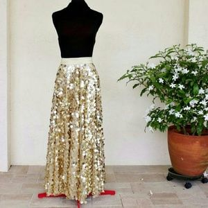 HP * Gold Large Sequin Maxi Gown Circle Skirt